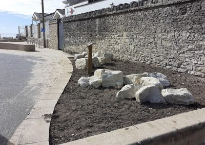 Planters refurbished with Purbeck stone, planting to follow