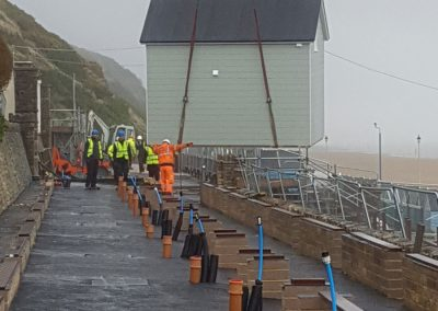 Phase 1, Day 1 - the first beach lodge is guided into place