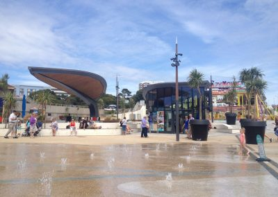 Family friendly waterplay feature and seating terrace