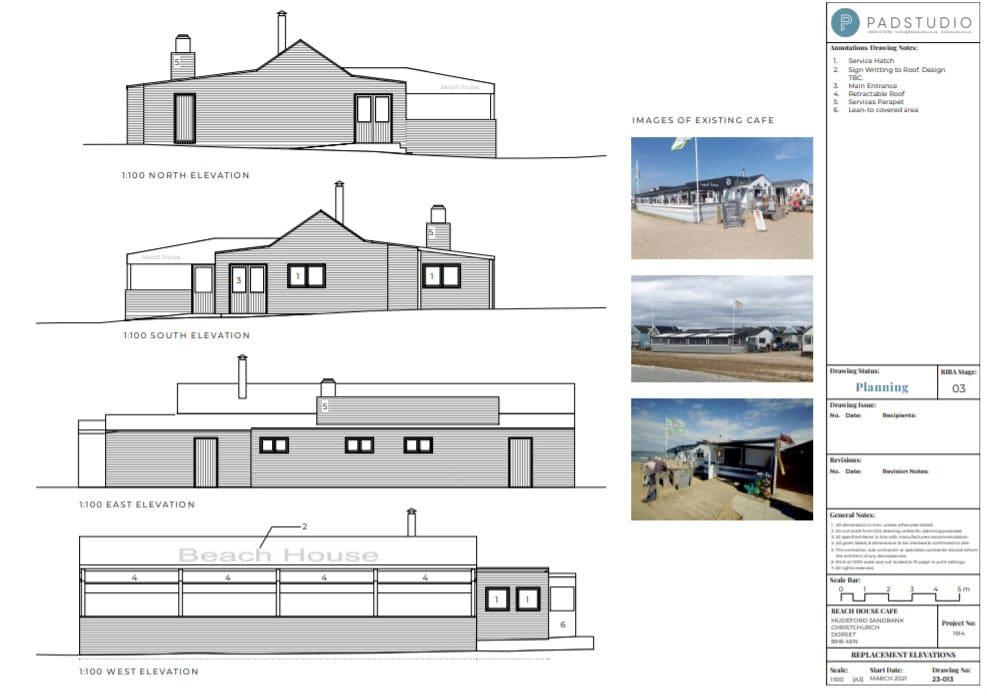 Beach House Café, replacement elevations